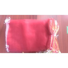 Eco-Friendly Drawstring Storage Poly Bags  35*60cm Sturdy Poly-Mesh Net Bags   for vegetable, egg and fruits with ribbon