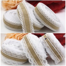 10M Natural Jute Burlap Ribbon With Lace rims Tape roll vintage rustic wedding decoration mariage wedding cake topper