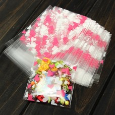Self-Seal10x7cm Pink Heart Mini Packaging Bag Clear Cellophane Cookie Sweet Package Wedding Birthday Candy Party For Gusset ,custom design welcome