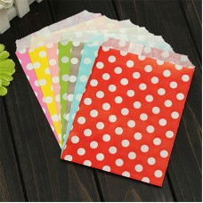 17x13cm 25pcs/Pack 7 Colors Polka Dot Spotty Paper Bag Without Handle Wedding Party Favour Candy Gift Bags Food Packaging