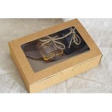 18*12*5cm Nice Design Natural Kraft Paper Cake Box, Kraft Paper Cake packaging Box with big clear window