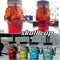 550ml new cool glass skull cup mason jar ,wine skull glass jar with straw lid Creative Skull Mugs Coffee Cup Mug free straws