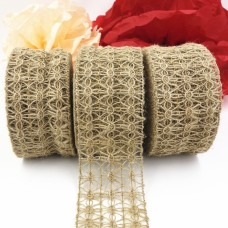 2.5inch Natural Color Weave Mesh Patern Jute Burlap Ribbon For vintage rustic wedding and Wreaths Ribbon 10Meter/Roll