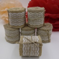 2M x 60mm Natural Jute Burlap Ribbon With Lace rims Tape roll vintage rustic wedding decoration mariage wedding cake topper
