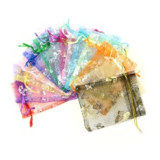 Organza Jewelry Candy Wedding Gift Pouch Bags 7x9cm Mix Color for Party Holiday New Year Use pack of 50