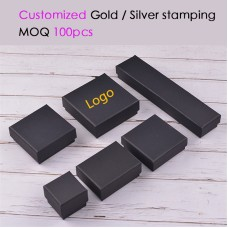 Wholesale 100PCS/lot High Quality Luxury Black jewelry Paper box Lift off lid paper boxes customized 1 color / Hot stamping logo
