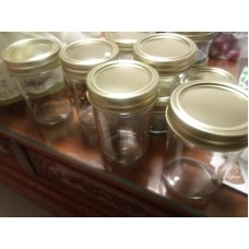 wholesale 8oz straight-side wide mouth glass mason jars mason glass for jam with 1 pc gold or silver lids
