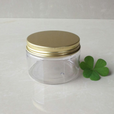 4oz Plastic Jars, Clear PET Straight Sided Jars w/ Lined Aluminum Caps , 120ml PET clear jar with gold aluminum screw lid cover