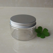 120gram Plastic Jars, Clear PET Straight Sided Jars w/ Lined Aluminum Caps , 4oz PET Heavy Wall jar with natural silver aluminum screw lid cover