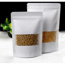 10*15cm 12*20cm 14*20cm  Self stand kraft paper zip lock gift packaging bag  craft ziplock packing bags with Window