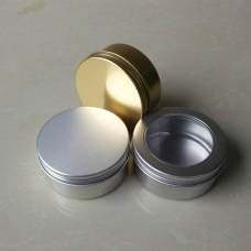 150ml Aluminium Tin Jars With Screw Cap~ Lightweight & Top Quality ,150 gram metal aluminum pots with screw lid , natural silver, golden, clear window top cover available