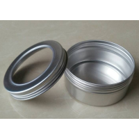 150g Aluminum Cosmetic Jar Clear Lip Container Screw Thread , 150ml Makeup with Window Lid, Empty Cosmetic Pots