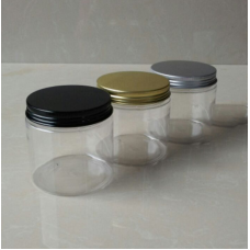 200g Empty PET Jars Aluminum Lids Clear Silver Plastic Cosmetic 30ml-250ml , 200ml plastic jar with gold cap 6.8oz