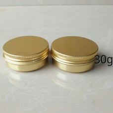 30g Gold aluminum jar with screw Gold Caps , 30ml golden metal tin ,Empty Aluminum Gold Tins , Cosmetic Jar Pots Lip Balm Container