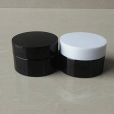 1 oz Amber Single Wall PET Plastic Jars with Black Twist Lids ,30ml Amber PET Heavy Wall Jars w/ Black Smooth Plastic Lined Caps