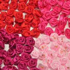 50Pcs 15mm Satin Ribbon Flower Rose