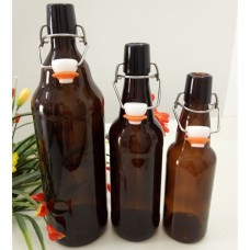 Amber glass bottle with a Clasp Top Jar ,Glass Jar with Glass Lid & Metal Clasp  ,  Glass Spice Jars Bottles Food Jar with Clasp/Clamp Sealing Tops
