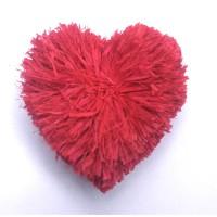Heart-shaped Raffia pompom , red color Raffia pom poms , Natural Raffia Fibers, Raffia Decorations for DIY Crafts