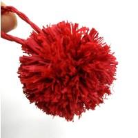 Red Raffia pom pom ,Handmade from Natural Raffia Fibers,  Raffia grass ball craft pom poms