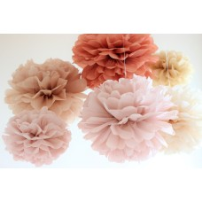 Set of 10 units (5M+5S) of  tissue paper pom poms - handmade - lots of colours to choose from