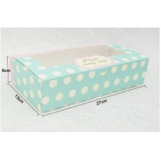 Window cardboard box for cake packaging,paper cake Biscuit packaging box with pvc window, light blue paper gift box
