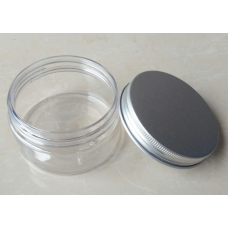30ml clear PET jar with aluminum screw lid , 1oz plastic jar with metal cap , 30g clear tin with aluminum cover