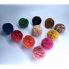 Raffia Pom Poms for DIY Crafts, Pom Poms for Baskets, Decorations, Ornaments, Fashion, Handmade from Natural Raffia