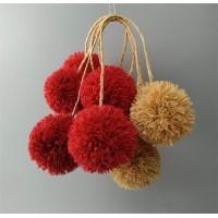 "Raffia pom poms with Loops from natural raffia ,Raffia decorations ,Pom Poms for Baskets, yarn pom pom handmade DIY crafts,1/2"",1"" ,2"",2.5"",3"""