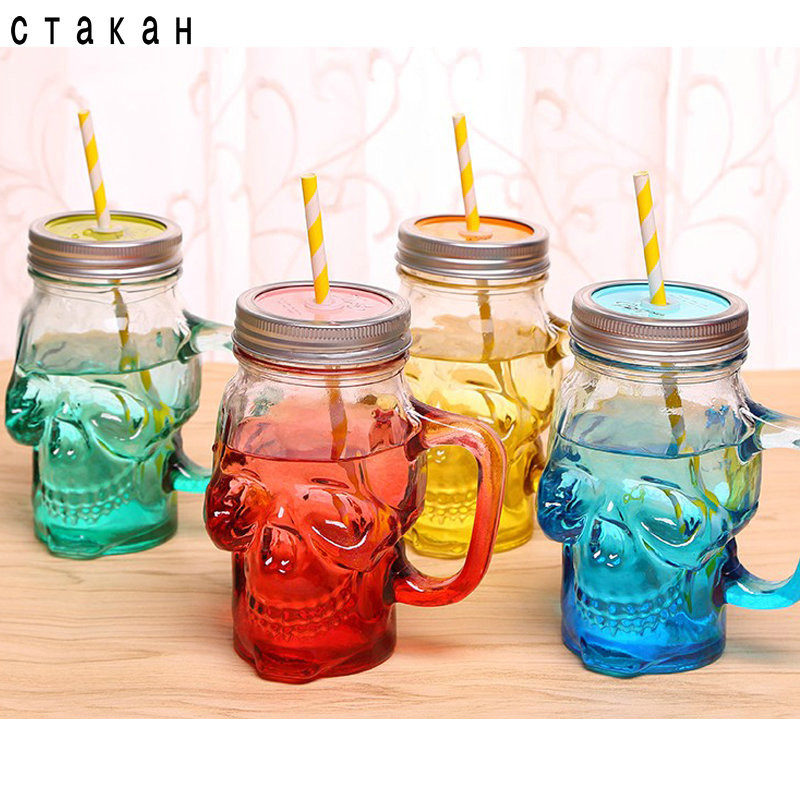 2016 New Cool Glass Skull Cup Mason Jar 550ml Wine Skull Glass Jar With Straw Lid Creative Skull Mugs Coffee Cup Mug Free Straws